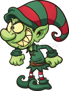236x314 Cartoon Christmas Elf Characters. Vector Clip Art Illustration