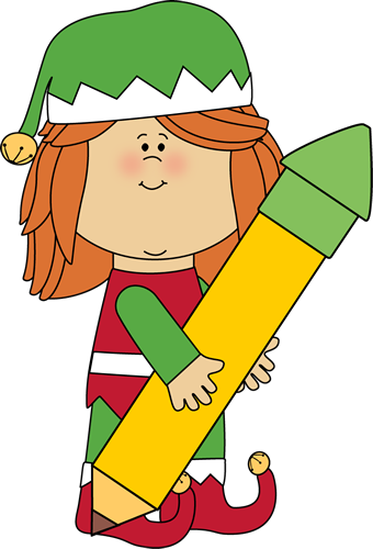 340x500 Christmas Elf Holding A Big Pencil Clip Art