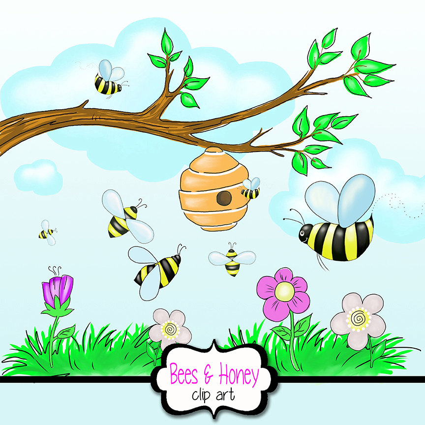 864x864 Honey Bee Clipart With Beehive Flowers Tree Branch Grass