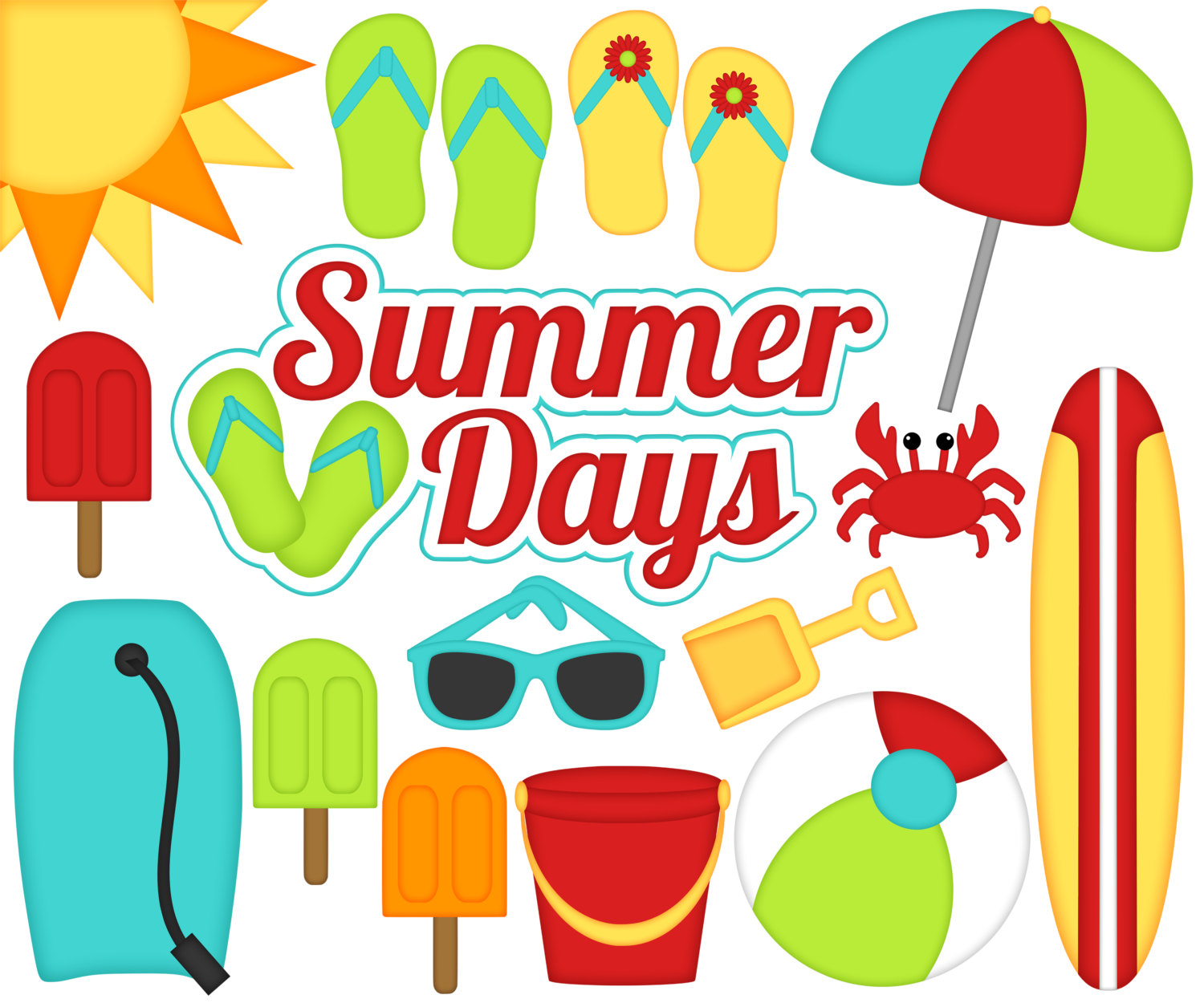 1500x1250 Summer Days Digital Clipart