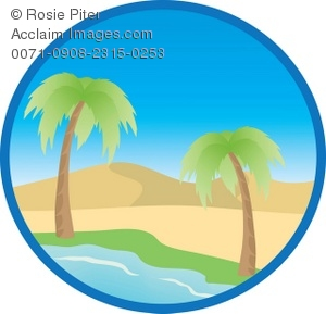 300x289 Clip Art Illustration Of A Desert Island With Palm Trees