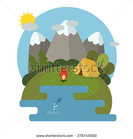 450x470 Mountain Lake Camp Ecological Landscape In Flat Design. National