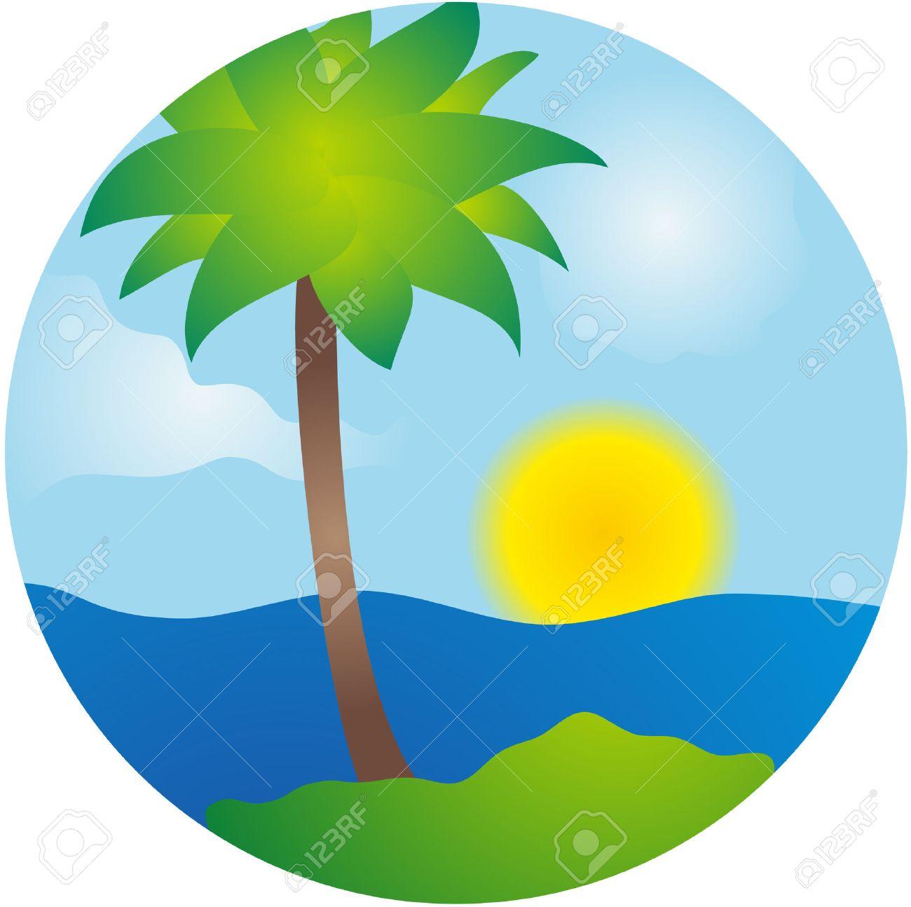 1300x1294 Summer Palm Island Vector Scene Royalty Free Cliparts, Vectors
