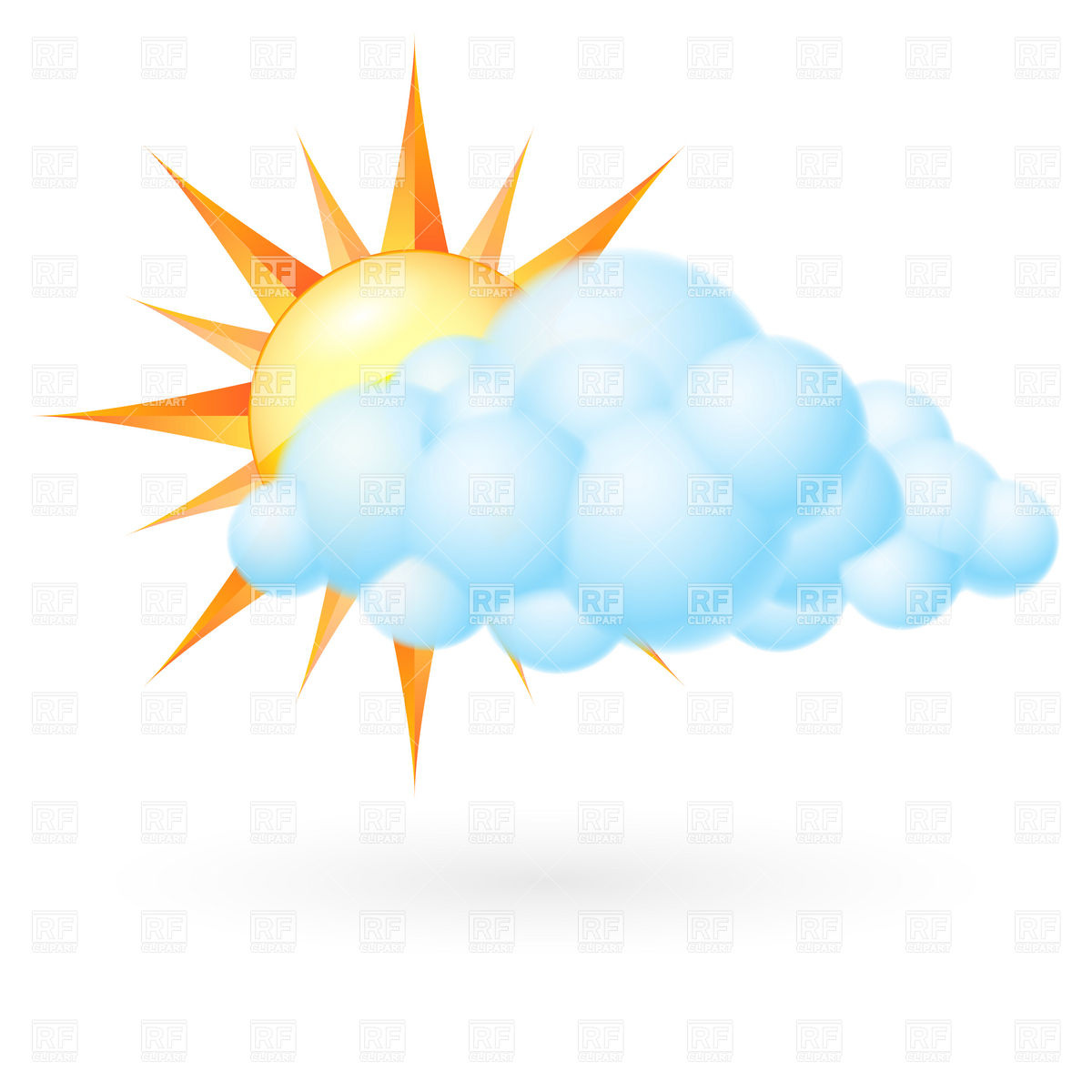 1200x1200 Cloud and sun Royalty Free Vector Clip Art Image