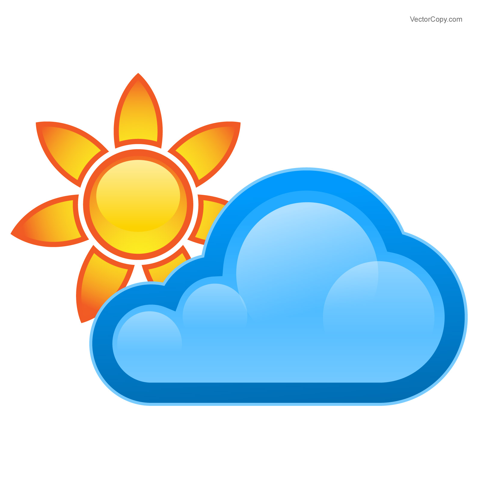 1600x1600 Cloud and sun – weather icon, free vector Free vector clipart