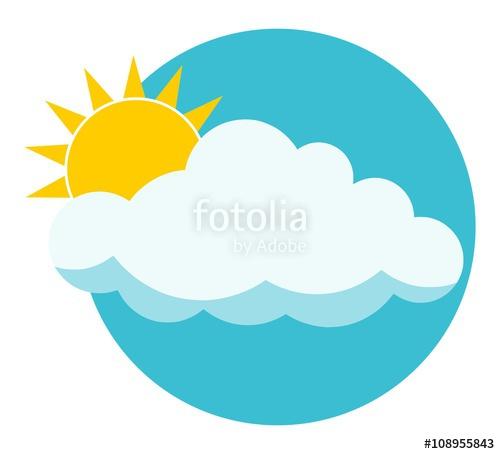 500x454 Flat Sun Behind Cloud Over Blue Sky. Sun. Cloud. Icon. Logo