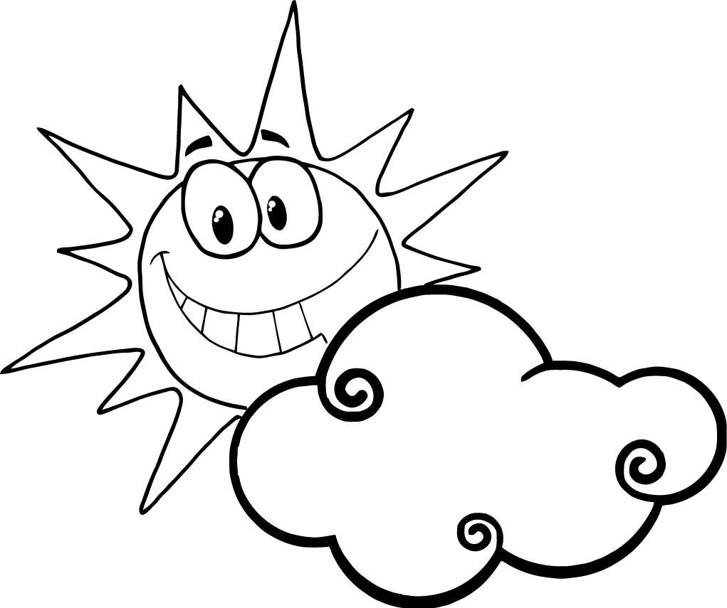 1021x855 Sun And Cloud Clipart Black And White
