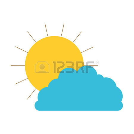 450x450 Sun And Cloud With Drops Rain Colored Crayon Silhouette Vector