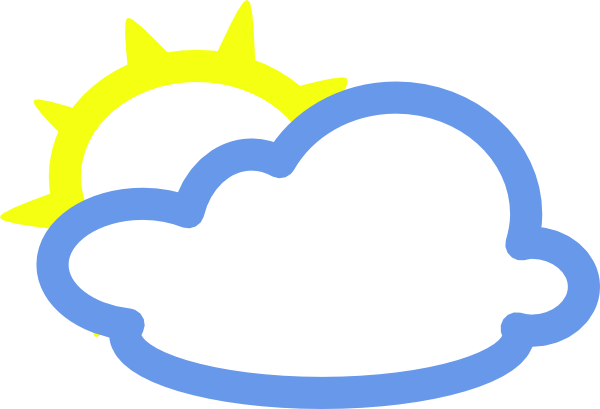 600x409 Light Clouds And Sun Weather Symbol Clip Art