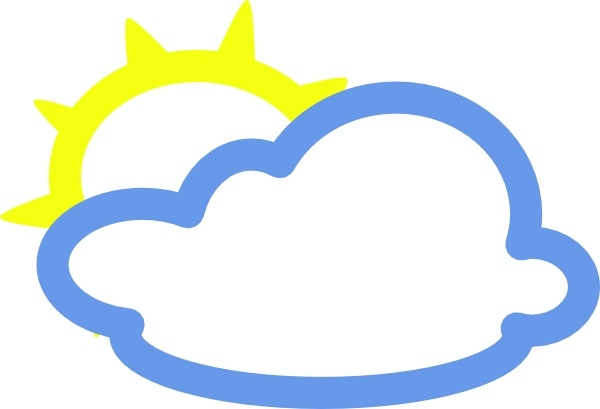 600x409 Light Clouds And Sun Weather Symbol Clip Art Free Vector In Open