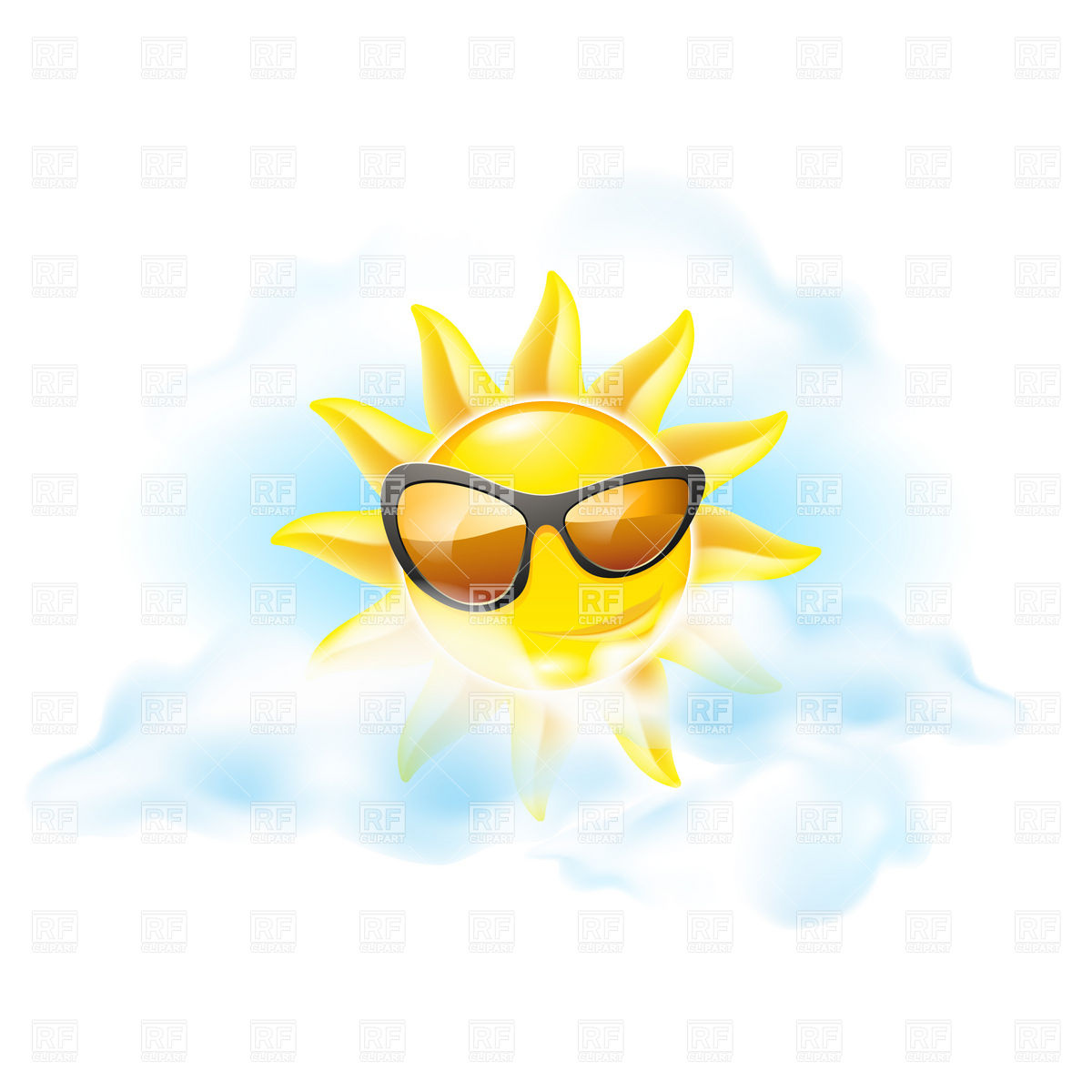 1200x1200 Smiling Sun In Sunglasses Inside Clouds Royalty Free Vector Clip