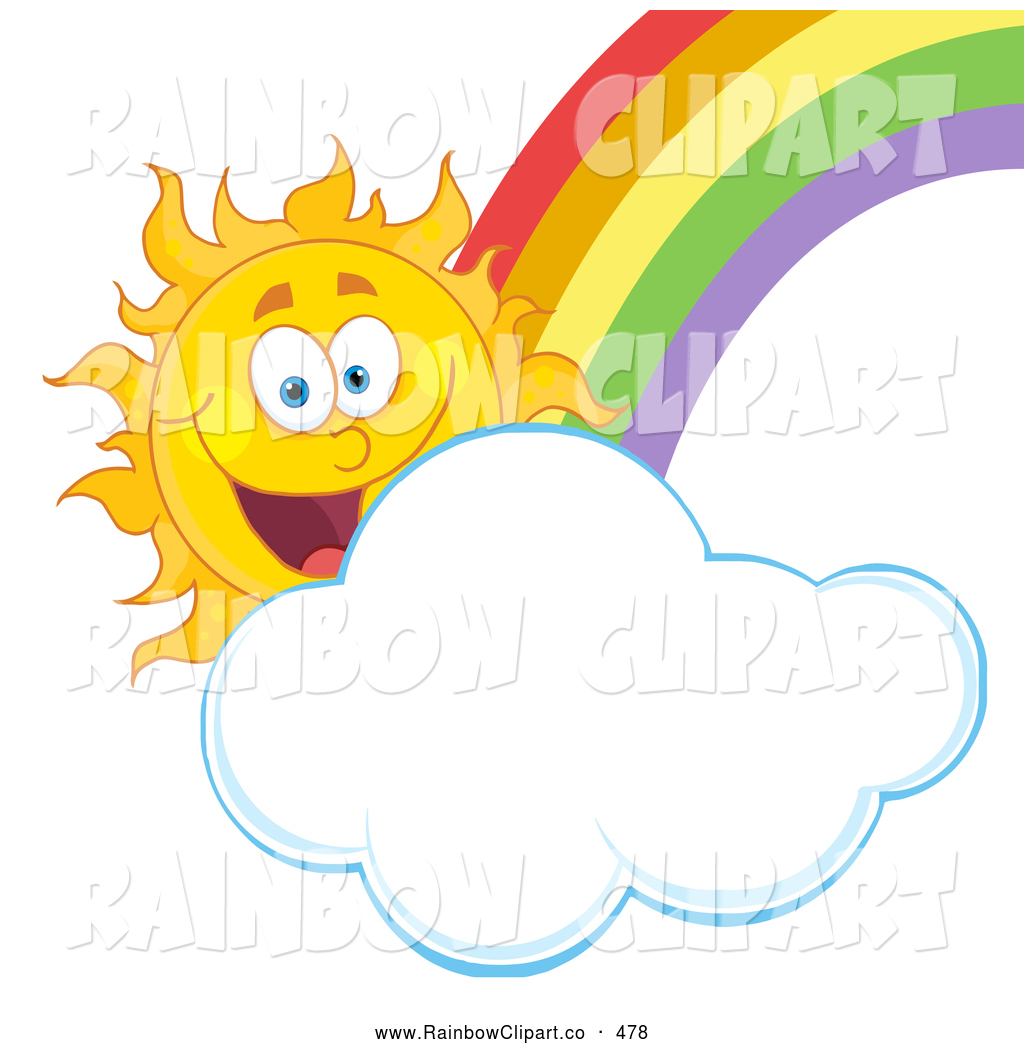 1024x1044 Vector Clip Art Of A Happy Sun With A Puffy Cloud And Rainbow By