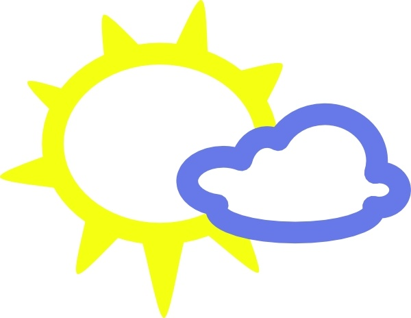 600x464 Very Light Clouds And Sun Weather Symbols clip art Free vector in