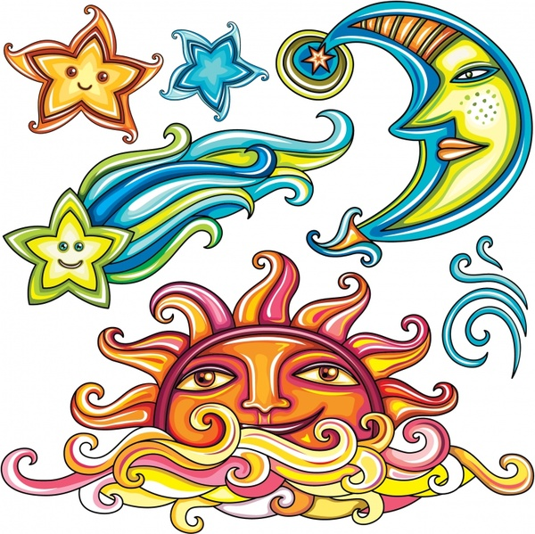 600x599 Sun Moon Free Vector Download (2,284 Free Vector) For Commercial