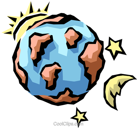 480x449 Earth, Sun, Moon, Amp Stars Royalty Free Vector Clip Art