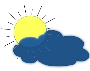 288x229 Sun Behind Cloud With Rain Clipart 1863604