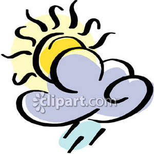 300x300 Sun Shining Behind A Rain Cloud Royalty Free Clipart Picture
