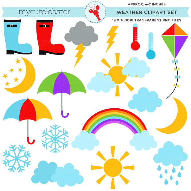670x670 Weather Clipart Set Clip Art Set Of Sun Clouds Rain