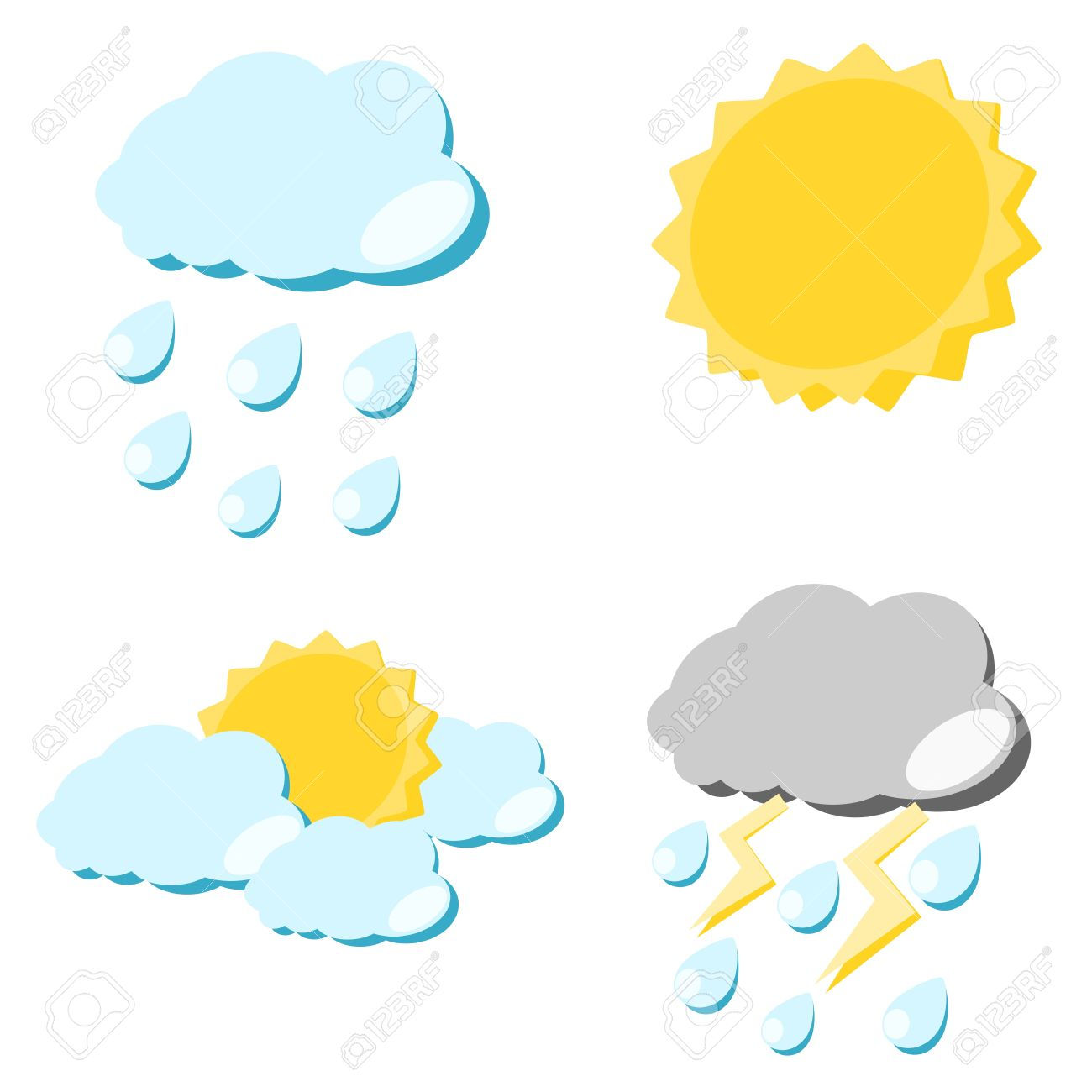 1300x1300 Weather Icon Sun Cloud Rain And Lighting Concept Illustration