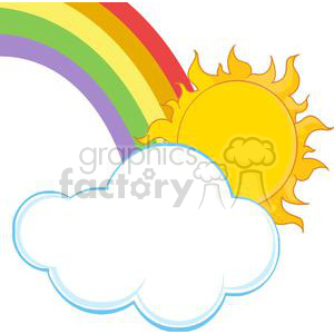 300x300 Royalty Free Sun And Rainbow 382050 Vector Clip Art Image