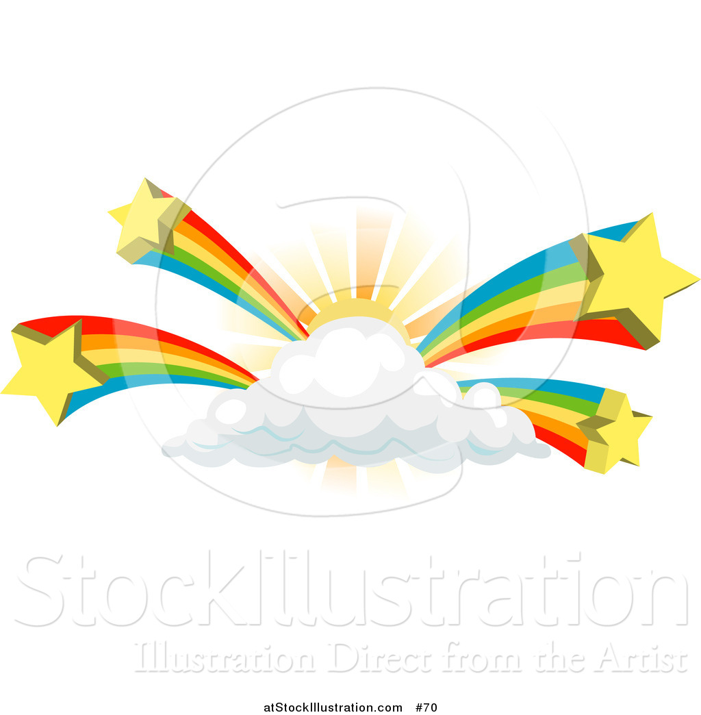 1024x1044 Vector Illustration Of Rainbows Bursting From A Sun Behind A Cloud