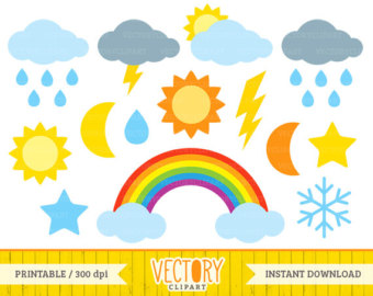 340x270 Weather Clipart Set Clip Art Set Of Sun Clouds Rain