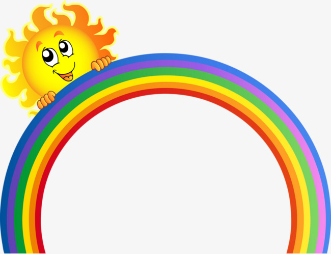 650x499 Cartoon Painted Rainbow, Sun, Cartoon Sun Decoration, Rainbow Png