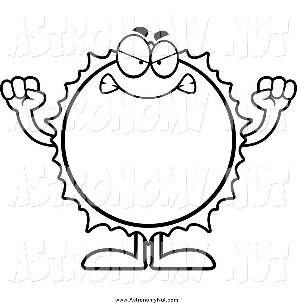 1024x1044 Clipart Of A Black And White Angry Sun By Cory Thoman