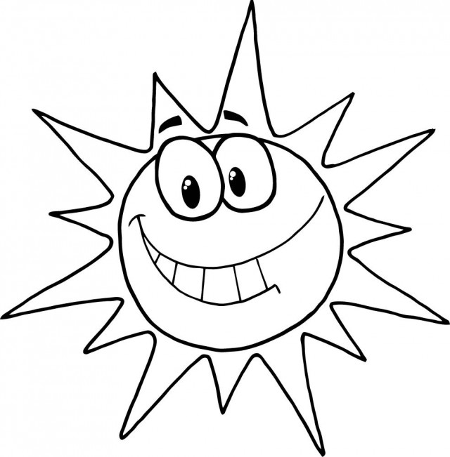 640x651 Sun Cartoon Black And White