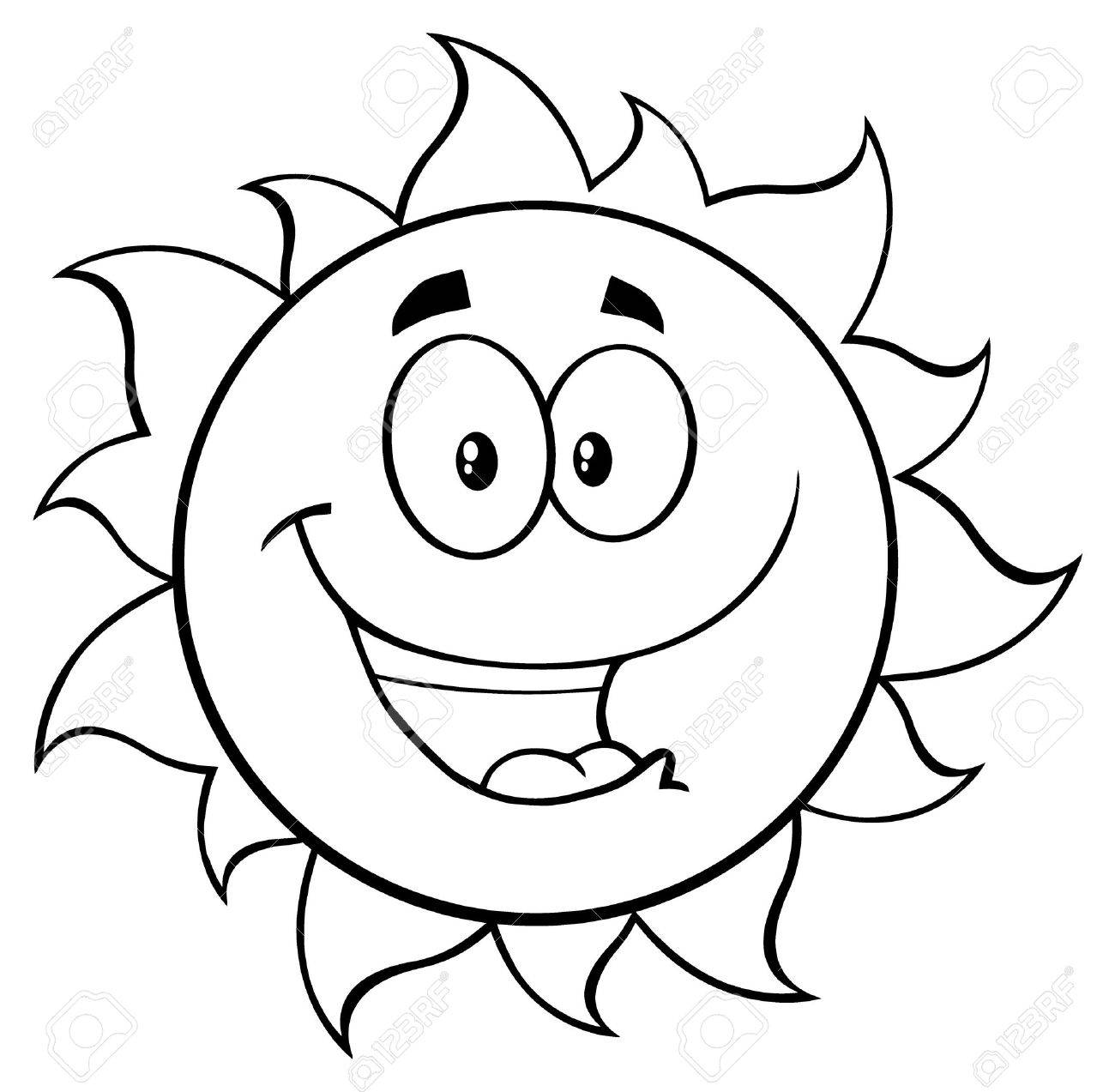 1300x1273 Black And White Happy Sun Cartoon Mascot Character. Illustration