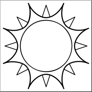 304x305 Clip Art Sun 01 BampW I abcteach
