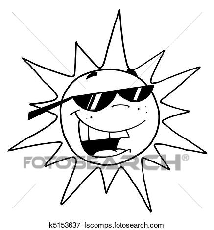 437x470 Clip Art Of Black And White Outline Sun K5153637