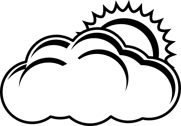 600x418 Cloud Clipart Balck White