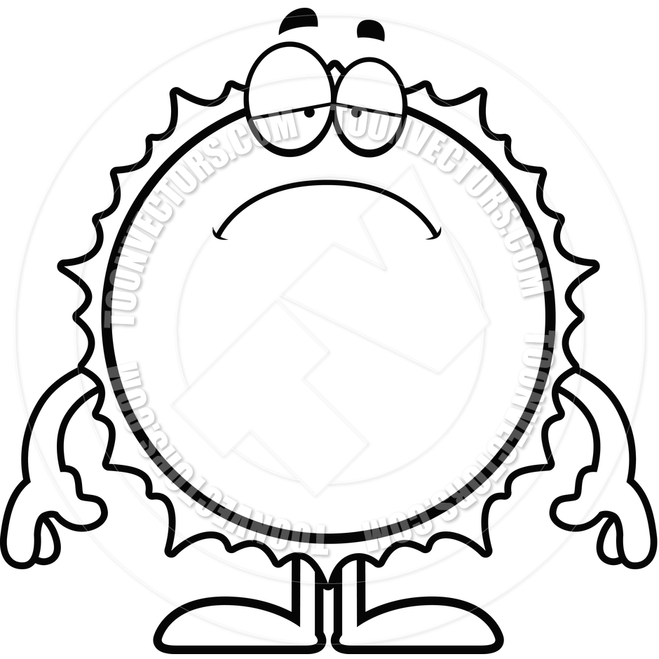 940x940 Sad Cartoon Sun (Black and White Line Art) by Cory Thoman Toon