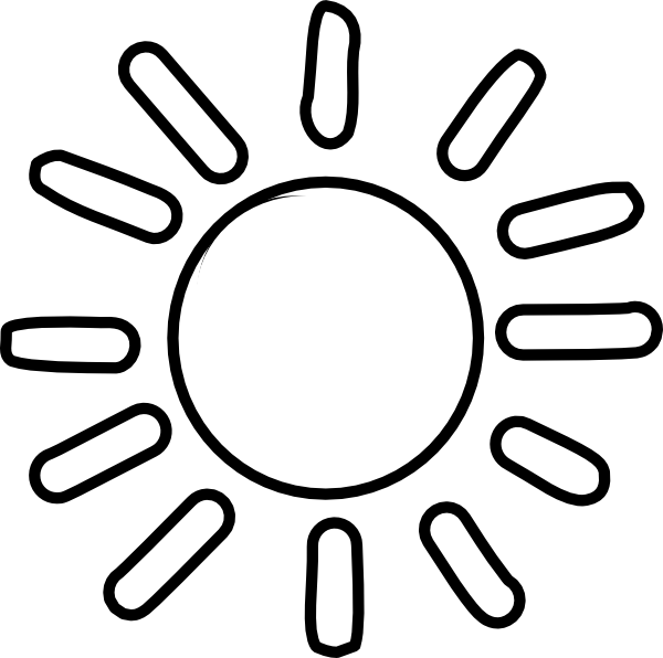 600x596 Sun black and white sun simple clipart –