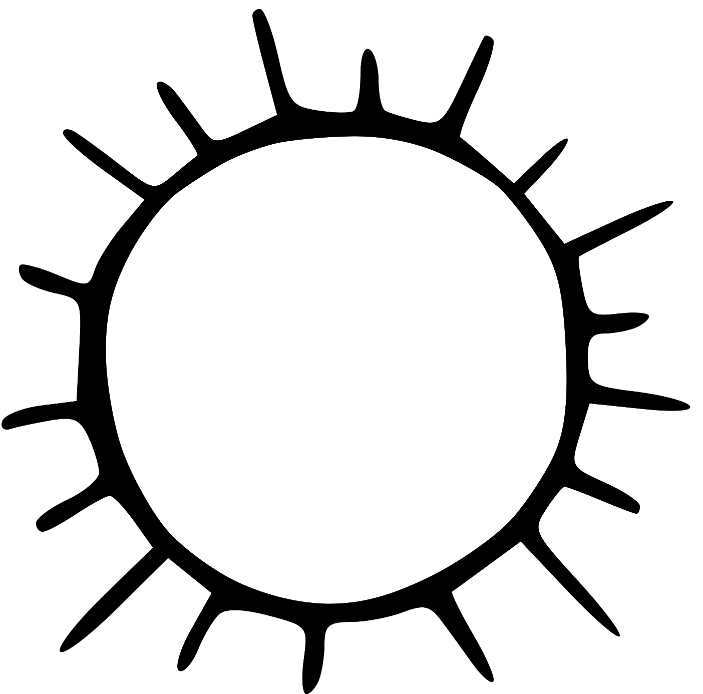 1404x1386 Black And White Sun Clip Art