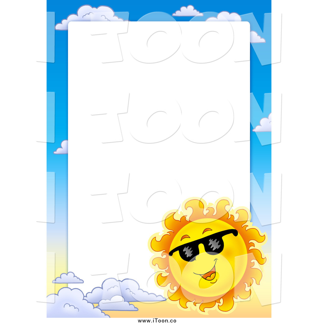 1024x1044 Royalty Free Cartoon Of A Sun Wearing Shades And Sky Border Around