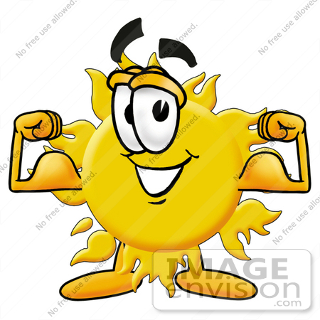 450x450 Clip Art Graphic Of A Yellow Sun Cartoon Character Flexing His Arm