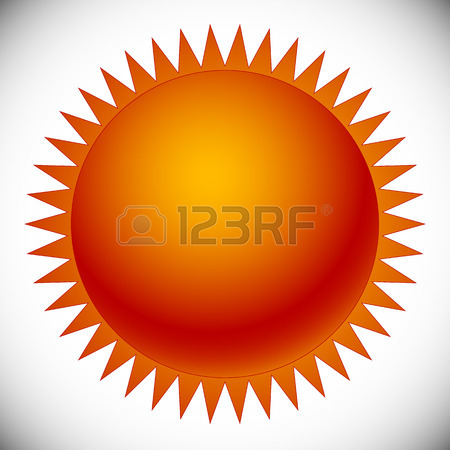 450x450 Orange Red Sun Shape Isolated On White. Editable Vector Clip Art