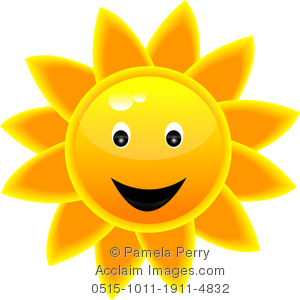 300x300 Clip Art Image Of A Smilingtropical Sun Icon
