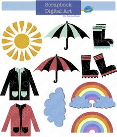 236x277 Kawaii Weather Clip Art, Rainy Day Clipart, Rain and Clouds, Sun