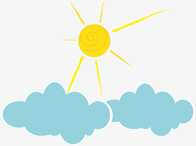 650x484 Hand Painted Cute Sun Cloud Vector Illustration, Hand Painted Cute