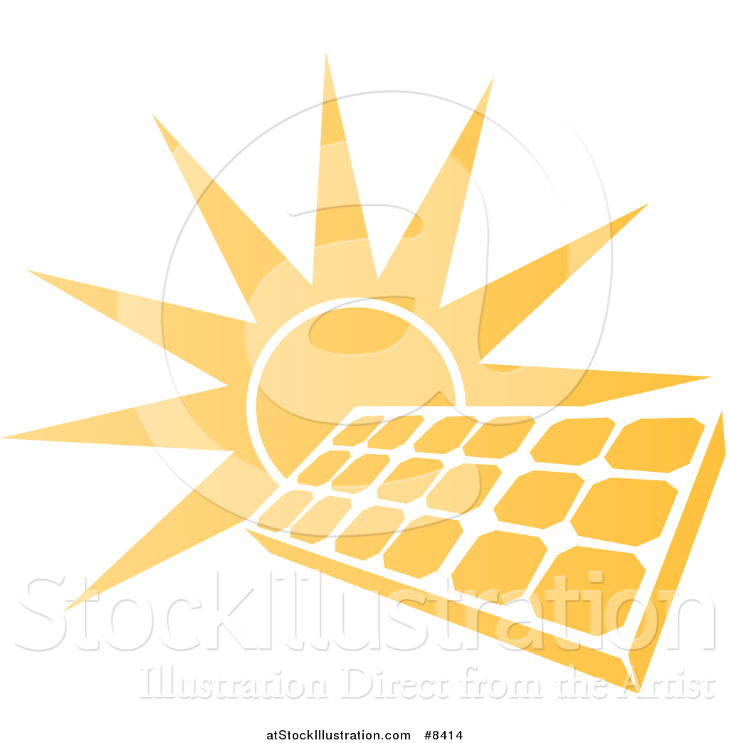 1024x1044 Vector Illustration Of A Sun Shining Behind A Solar Panel