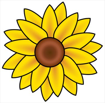 350x345 Black And White Sunflower Clip Art Clipart Panda