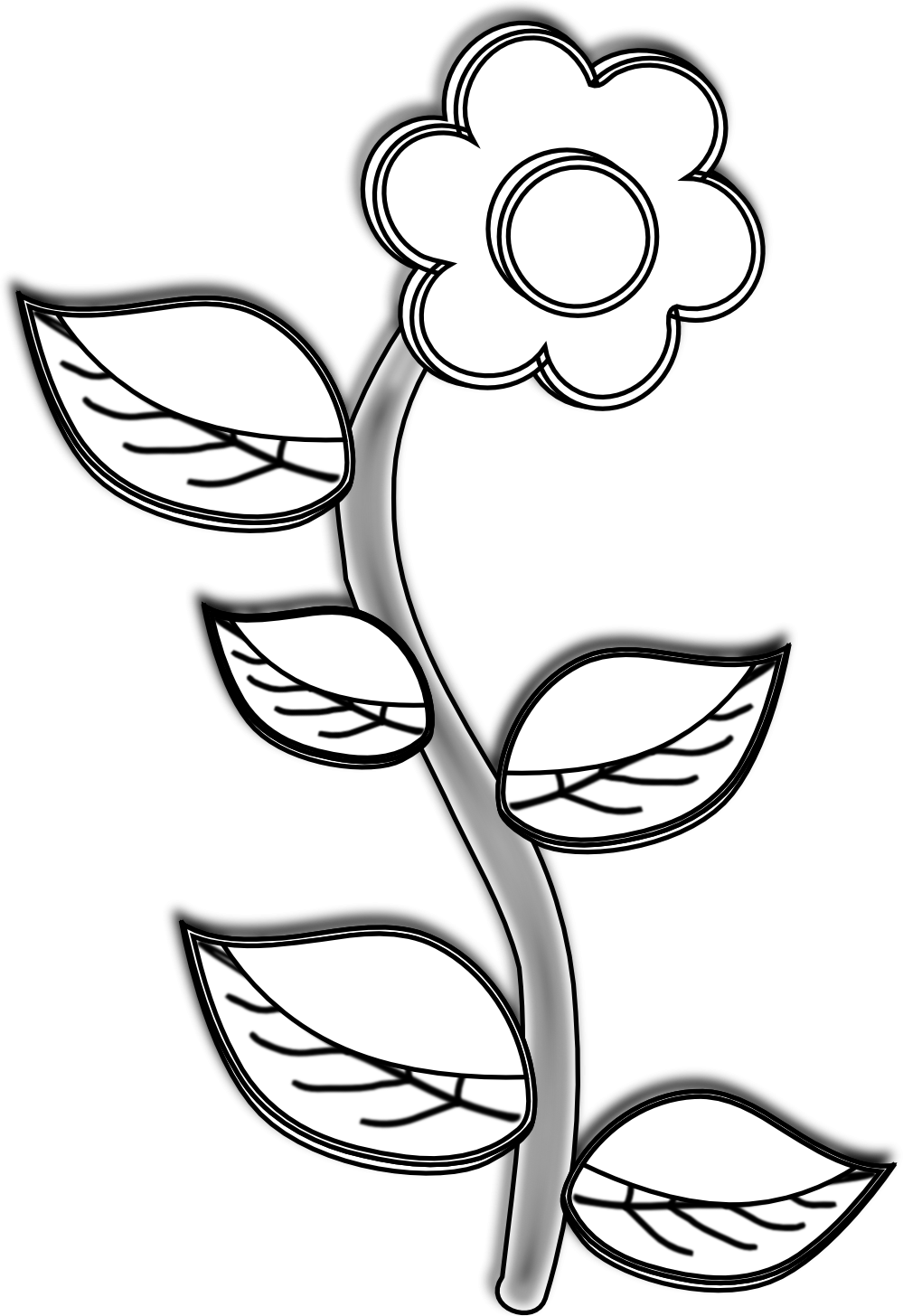 Sun Flower Clipart Black And White | Free download best Sun