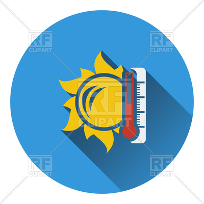 400x400 Sun And Thermometer With High Temperature Icon Royalty Free Vector