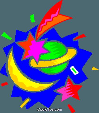 419x480 Sun, Moon, Shooting Stars Royalty Free Vector Clip Art
