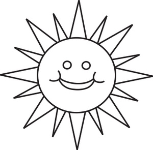 300x295 Black And White Sun Clipart