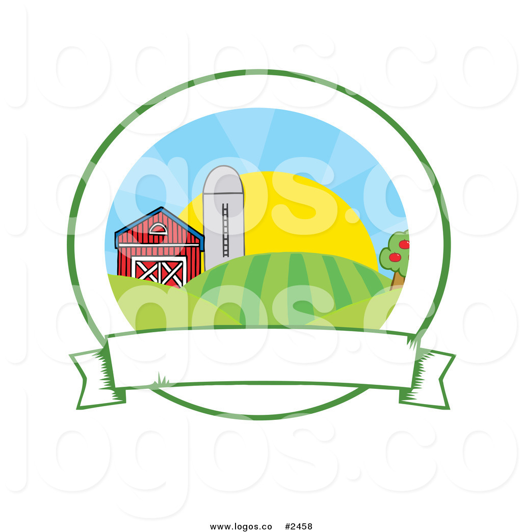 1024x1044 Royalty Free Farm With A Blank Banner And Rising Sun Logo By Hit