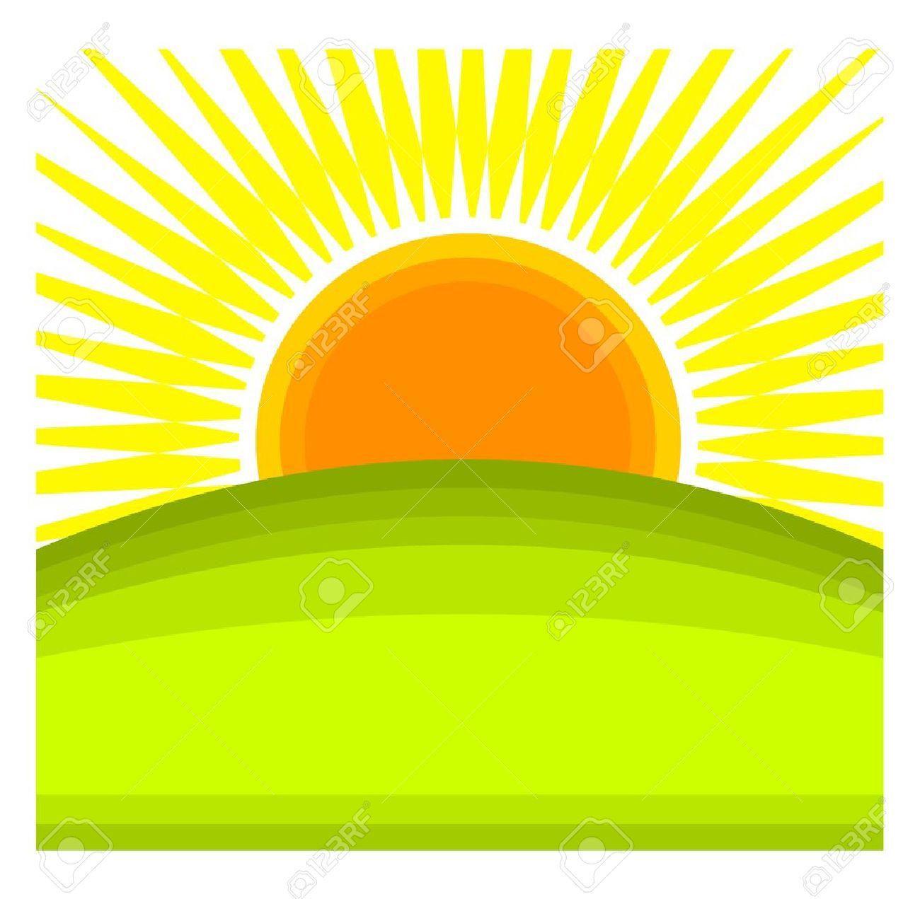 1300x1271 Sun Rising Behind Green Hill Horizon. Royalty Free Cliparts
